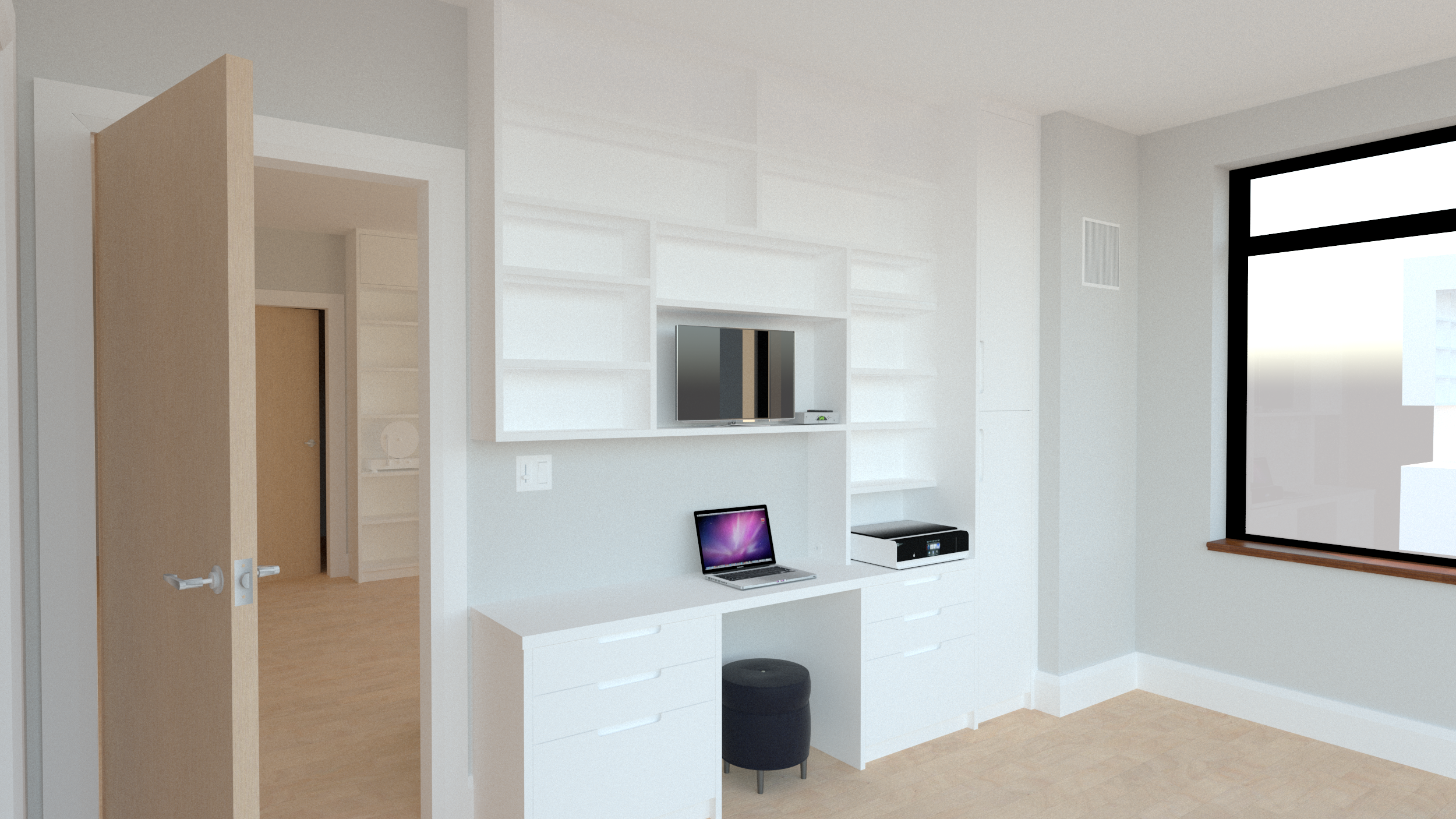 Floor-to-ceiling office space - Built-in office wall with desk below and shelving above