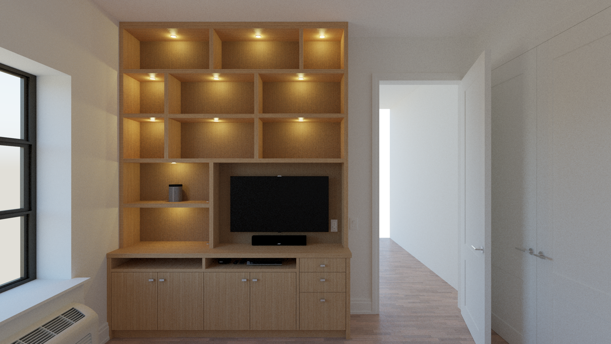 Floor-to-ceiling media units -