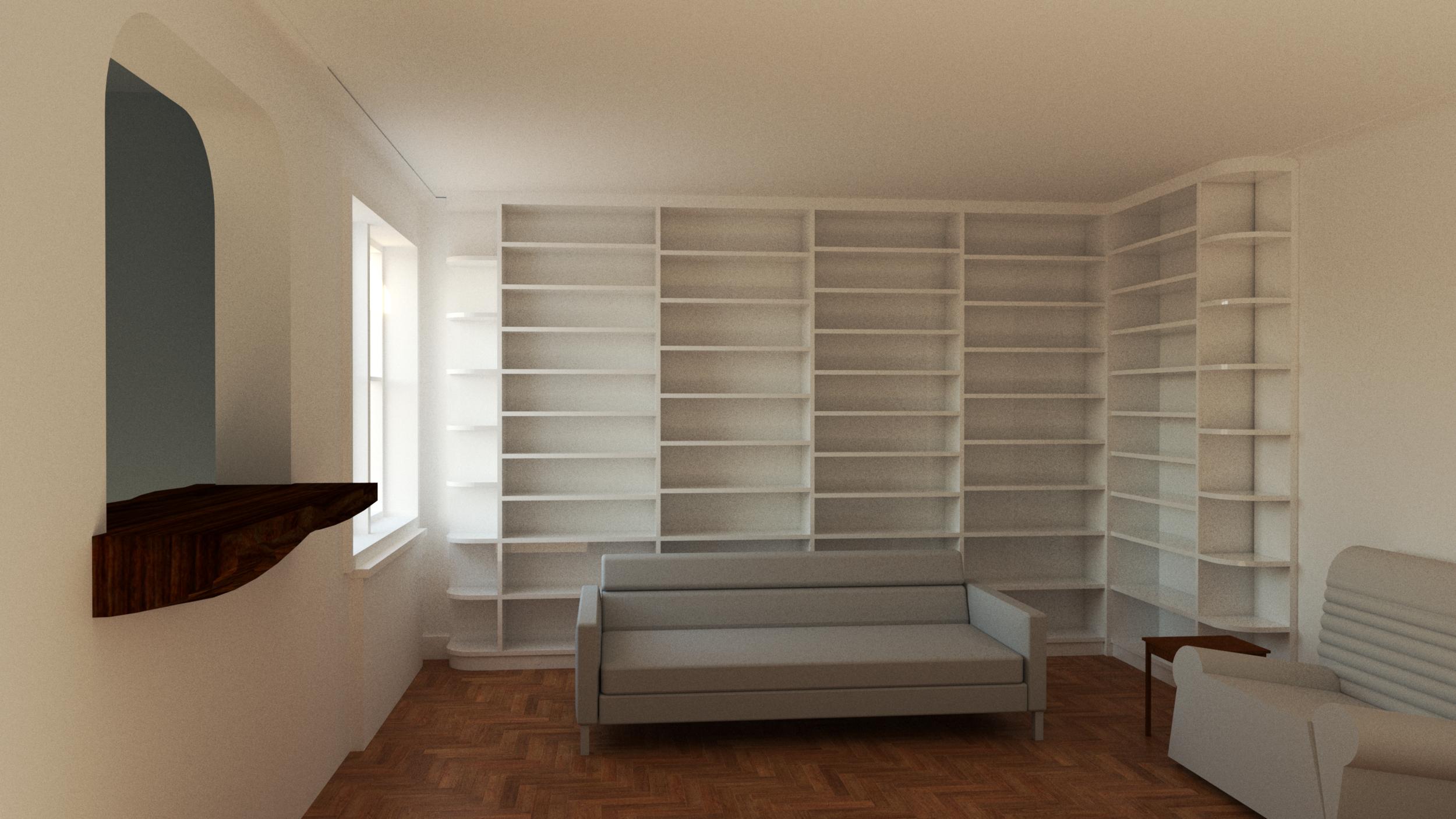 Floor-to-ceiling bookshelves -