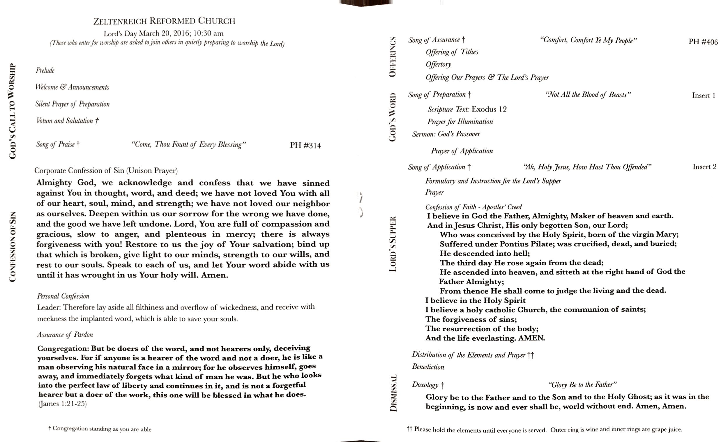 Zeltenreich Reformed Church Bulletin 3.20.2016