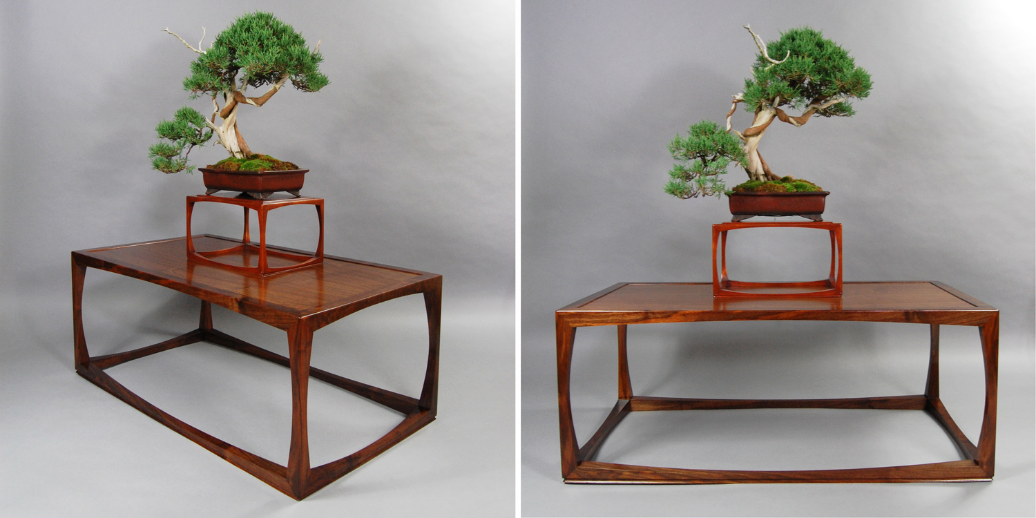 The bonsai tree and stand that inspired the swell coffee table below.