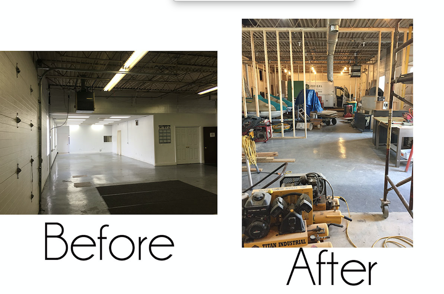 Our new office provides us lots of storage space for all of our tools and equipment.