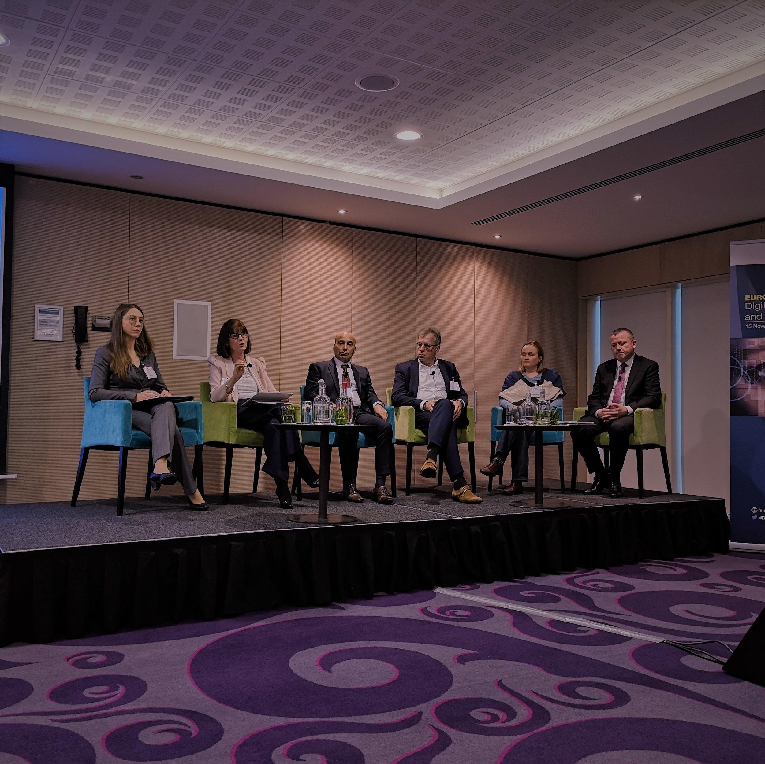 Final panel featuring (from left) Austeja Trinkunaite (CEPIS), Mary Cleary (ICS), Carmel Cachia (e-Skills Malta Foundation), Floor Scheffer (Tata Steel), Anna Stepanoff (Wild Code School) & Damien O'Sullivan (ECDL Foundation).