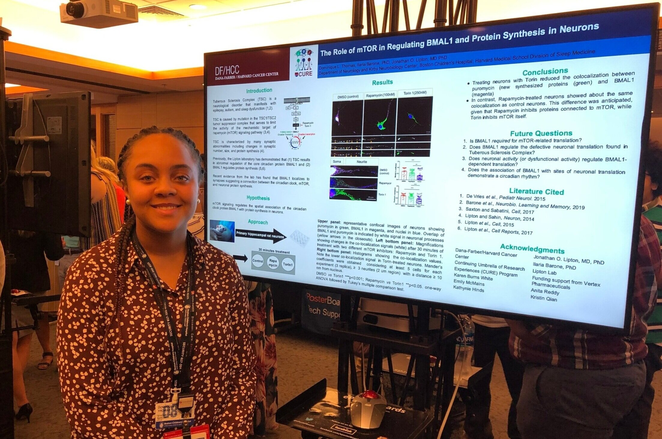 """August 2019 - Dominique, one of our summer high school interns, presented her project titled """"The Role of mTOR in Regulating BMAL1 and Protein Synthesis in Neurons"""" at the 2019 Dana-Farber CURE Digital Poster session."""