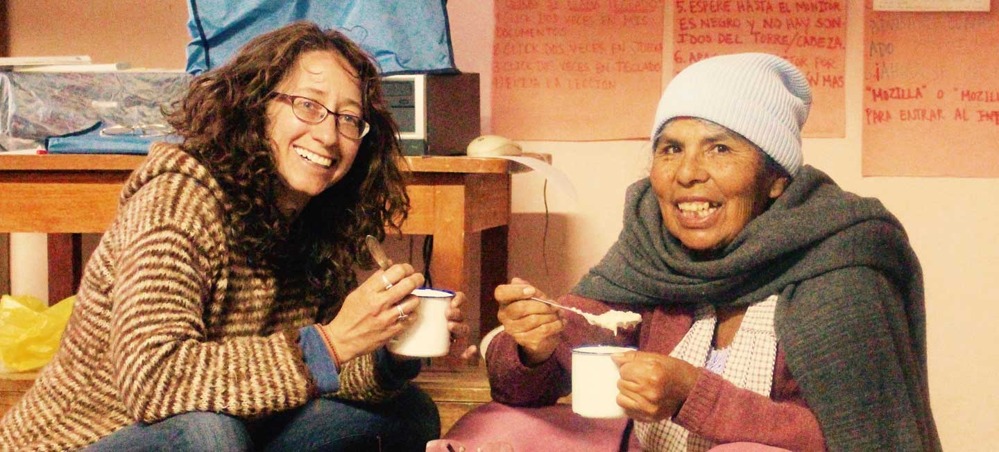 A breakfast meeting - Bolivia Style!  KUSIKUY founder Tamara Stenn and head knitter, Emilia Laime, spent 21 years together designing and knitting alpaca sweaters.