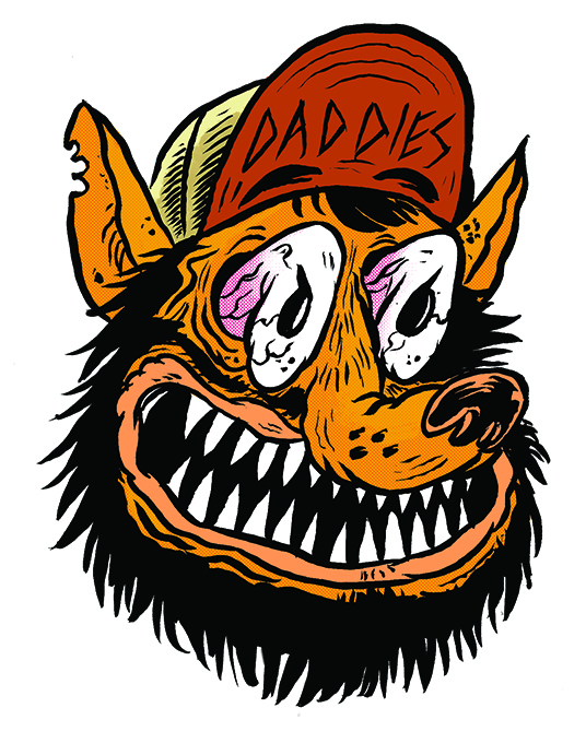 daddies boardshop sticker design