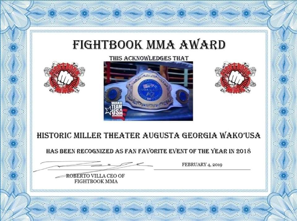 Stars and Stripes Tournament wins event of the year! - W.A.K.O. National Kickboxing held at Miller Theater in Augusta, GA wins 2018 event of the year by FIGHTBOOK MMA Awards!