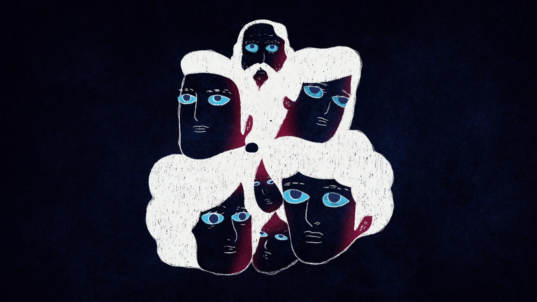 heads composition white hair blue eyes illustration hand drawn animation telecine estudio beeld rio