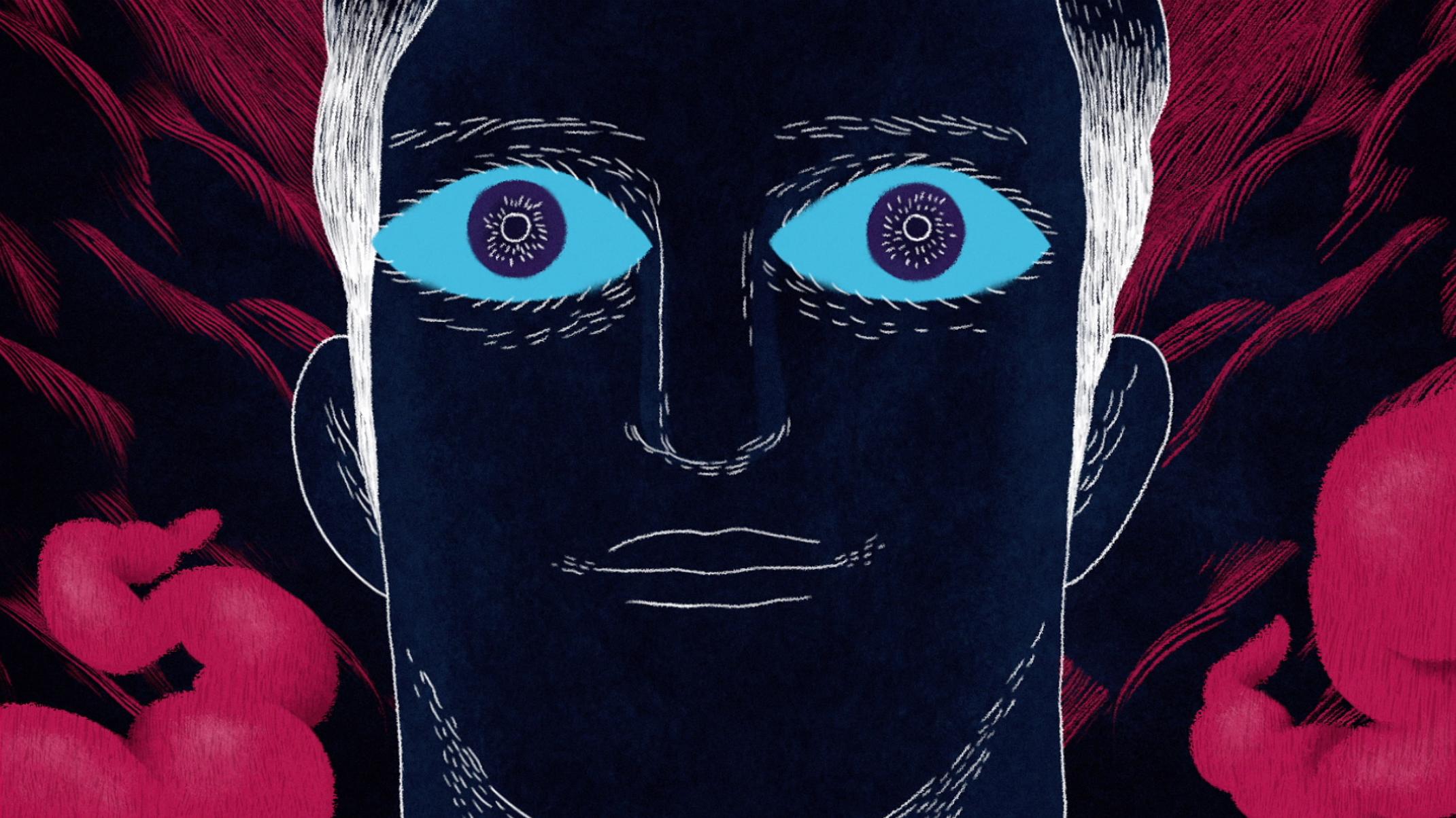 blue eyes close character design for telecine tv promo cinema seat beeld
