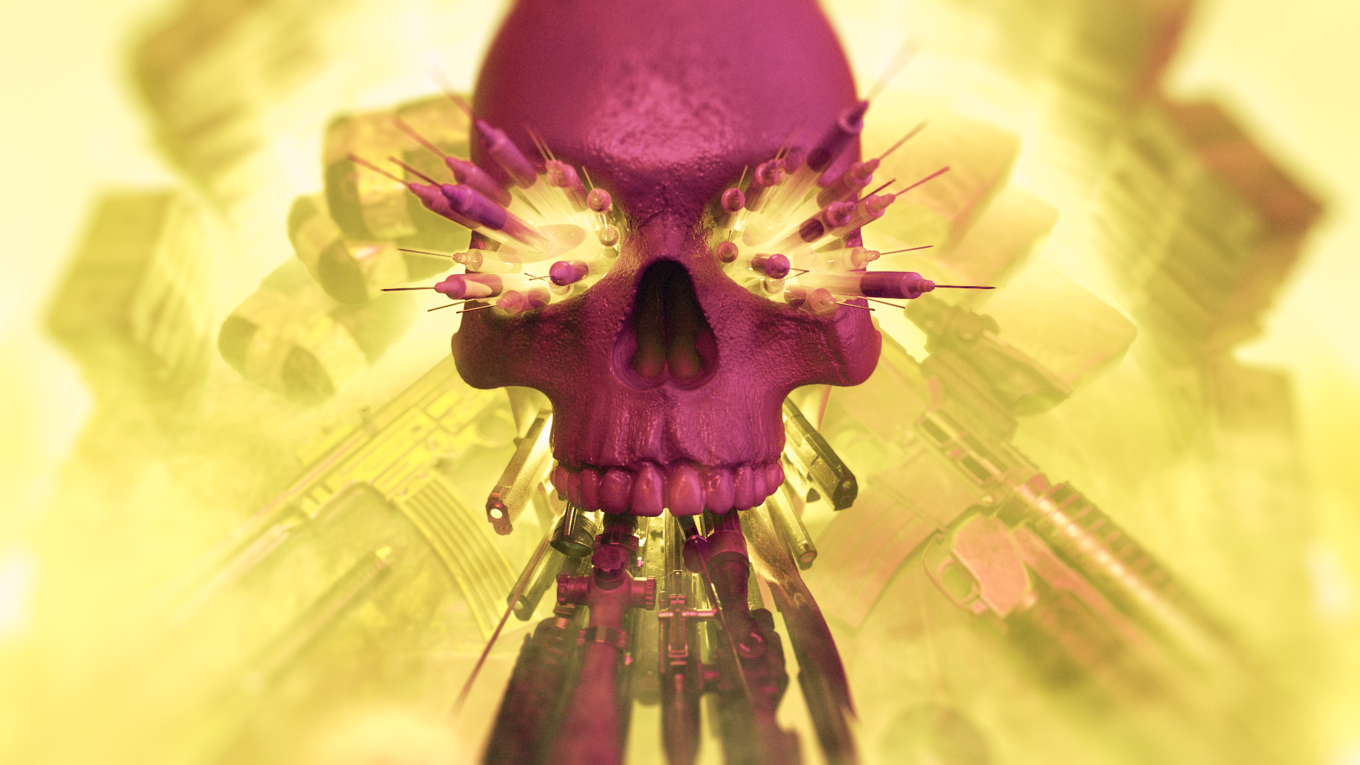 beeldmotion skull frontal view with guns and syringes styleframe process
