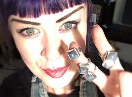 New labradorite pyramid rings