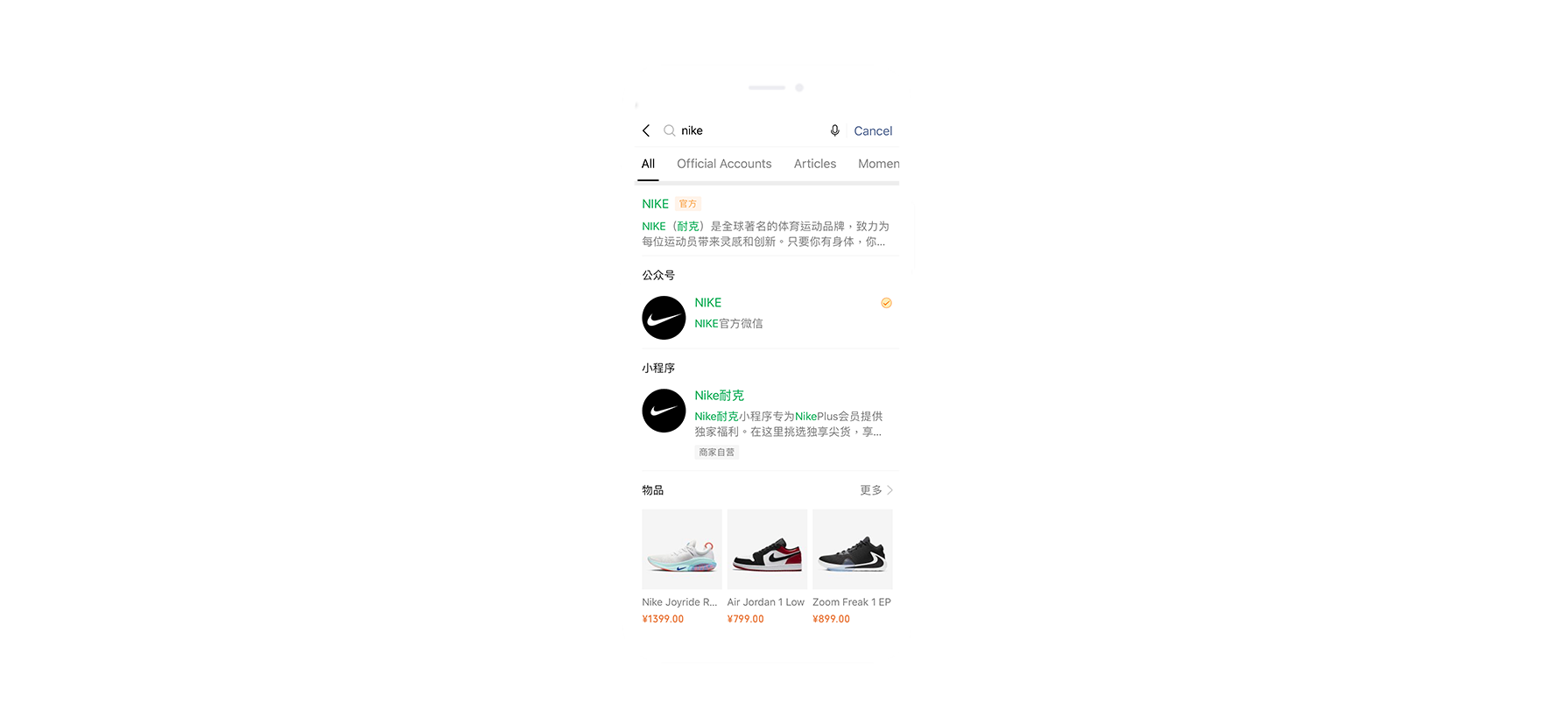 WeChat Nike search functions section