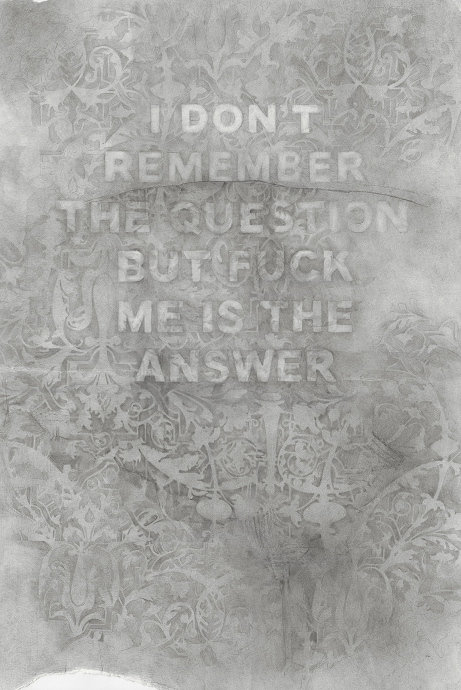 I Don't Remember The Question But Fuck Me Is The Answer , graphite on paper, 22 x 32 inches, 2016