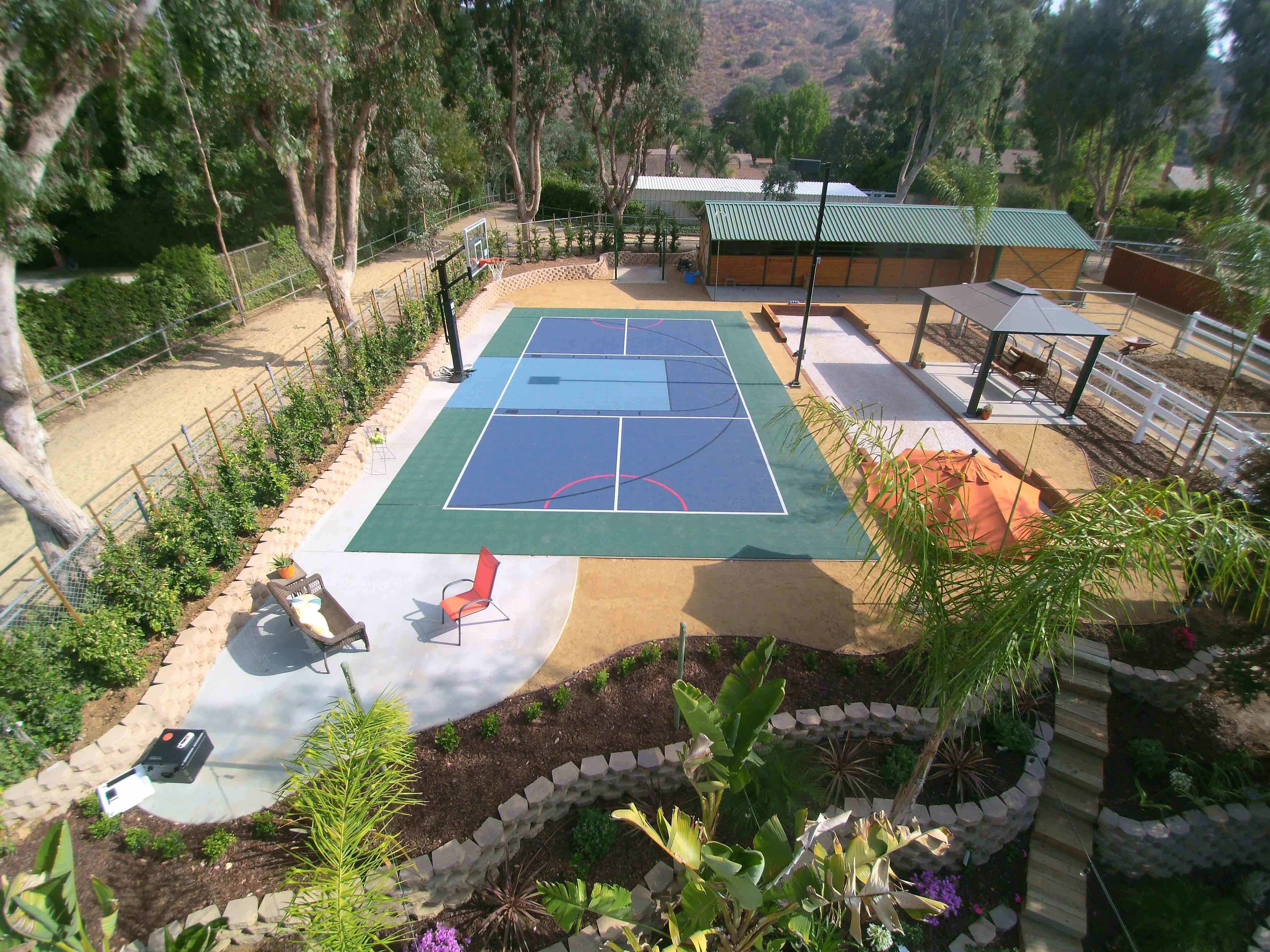 Sport court with drought tolerant landscape