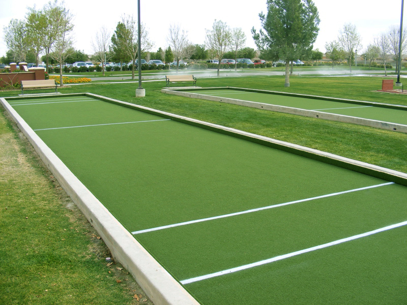 Synthetic grass bocce court