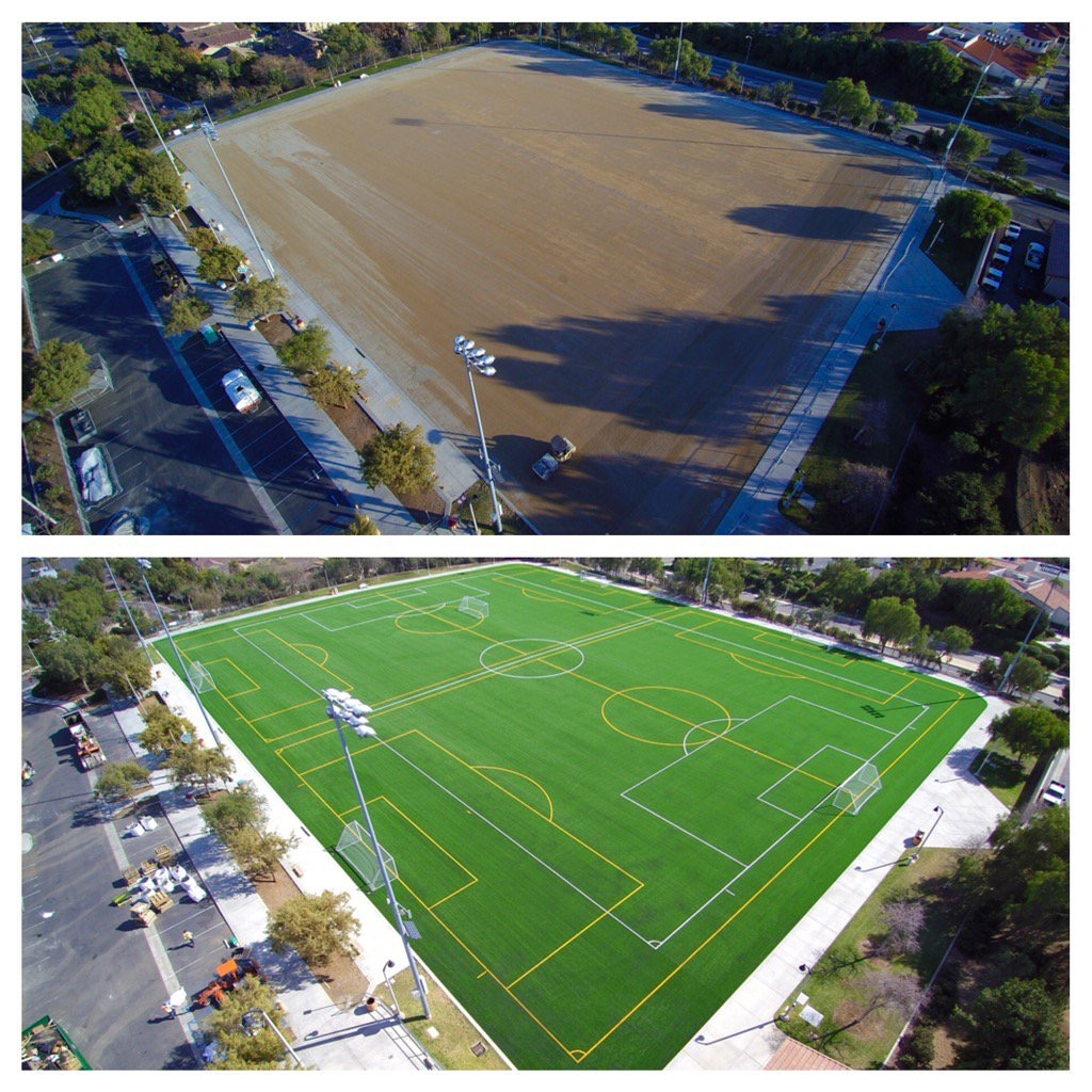 Before after synthetic grass soccer field
