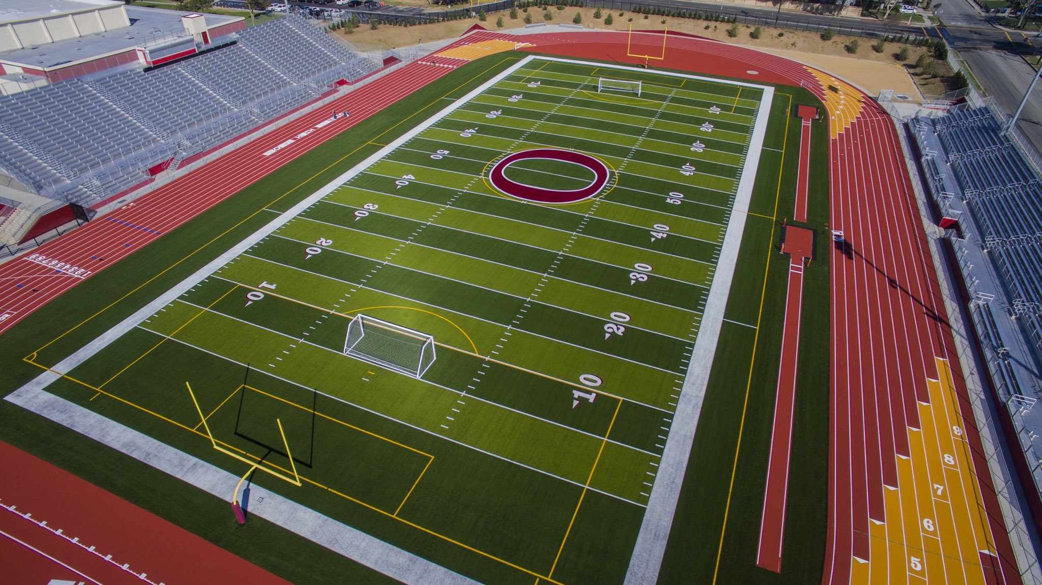 Synthetic artificial grass football field