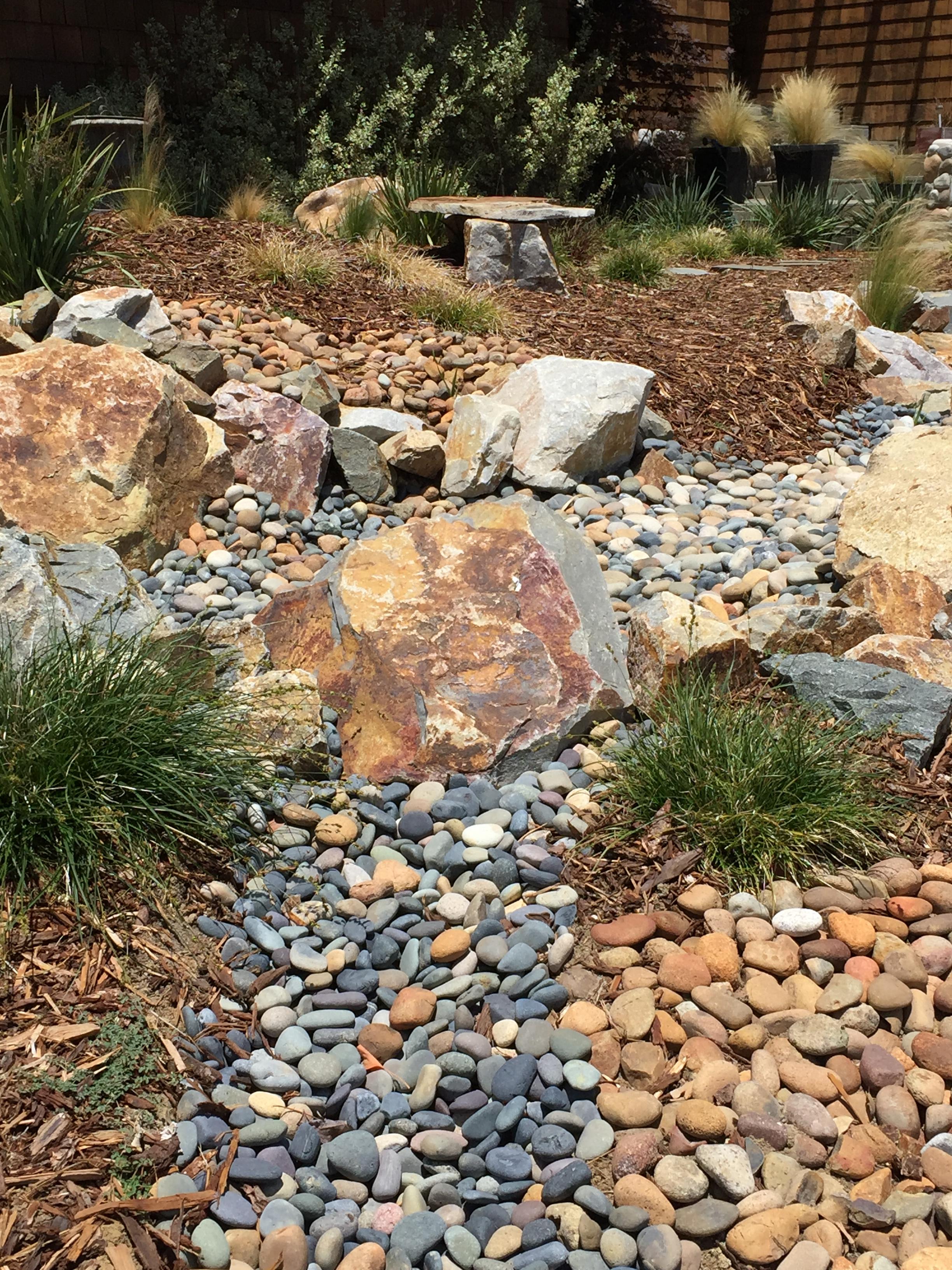 Drought tolerant landscape river bed