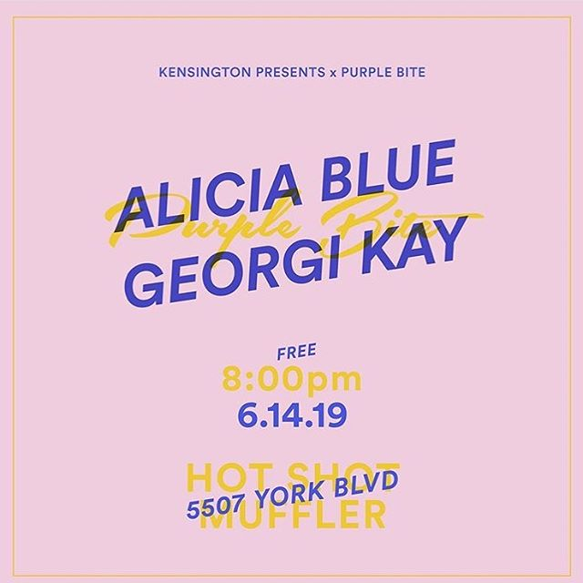 Tonight! I'm very lucky to be playing with my guys for @kensingtonpresents & @purplebitepr .  I hope you can swing by this York Blvd muffler shop and hangggg. It's free. Rsvp in bio. 🌸🌸🌸