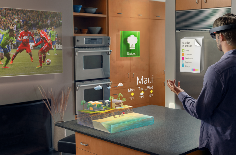 MS Hololens: To do the bloom gesture, hold out your hand, palm up, with your fingertips together. Then open your hand.