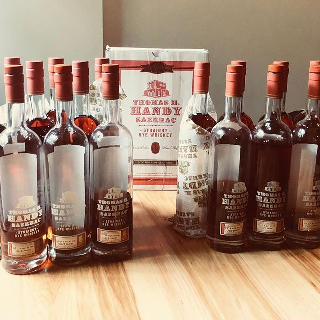 We are lucky enough to still have vintages dating back to 2011 of the very limited Thomas H Handy Sazerac Rye from the @buffalotracedistillery Antique Collection. This annual release is bottled uncut and unfiltered from only a small handful of barrels, and each vintage has a noticeably distinct and equally delightful flavor profile, making each new fall release a perennial favorite. Come on in and compare a few of these extraordinary pours, today.  #eatsleepwhiskey