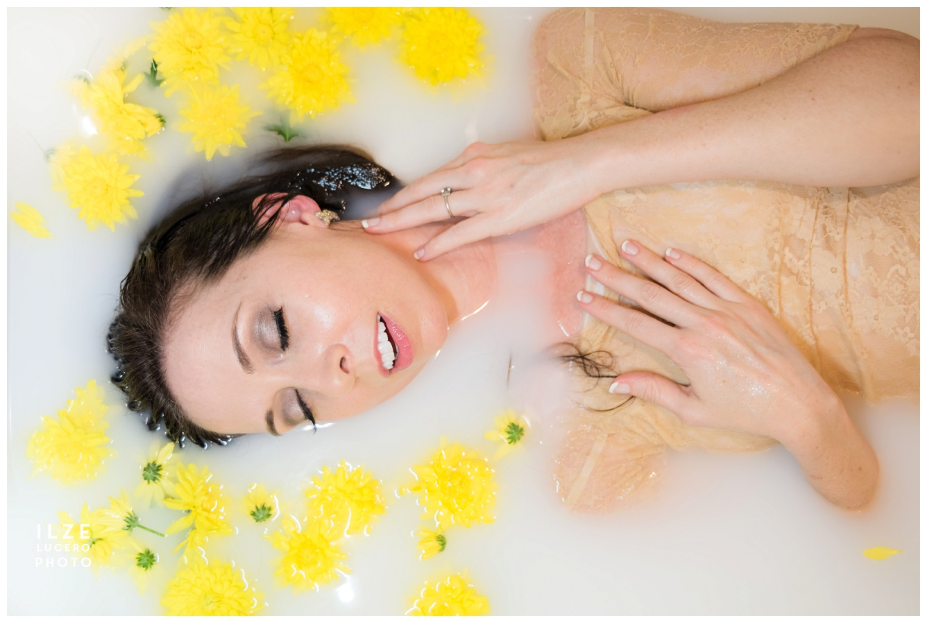 Milk Bath photo inspiration with yellow flowers, fashion photo in milky water