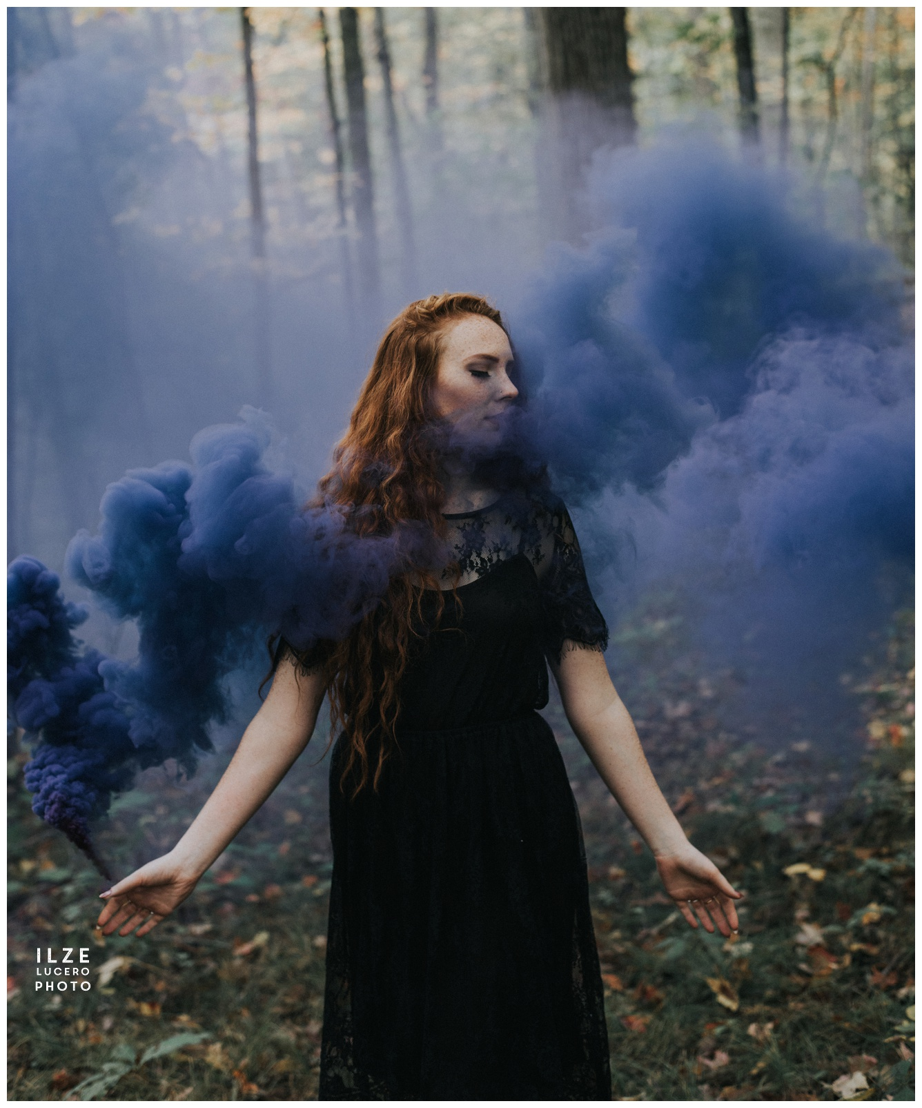 Blue smoke photo shoot