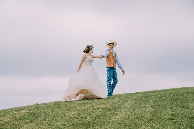 Cowboy Wedding Dancing on a hill