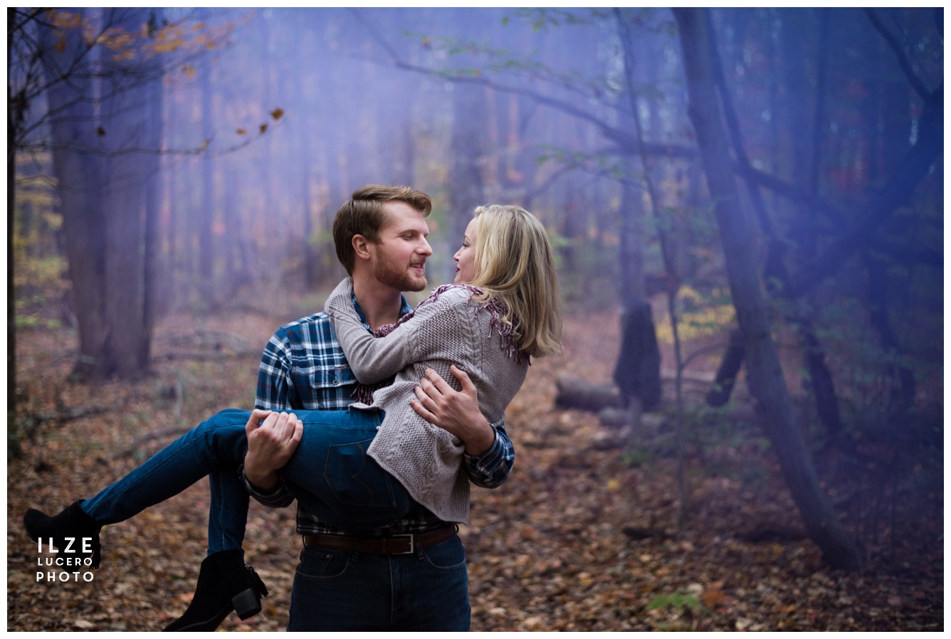 Couple and purple smoke -  detroit wedding photogrpher