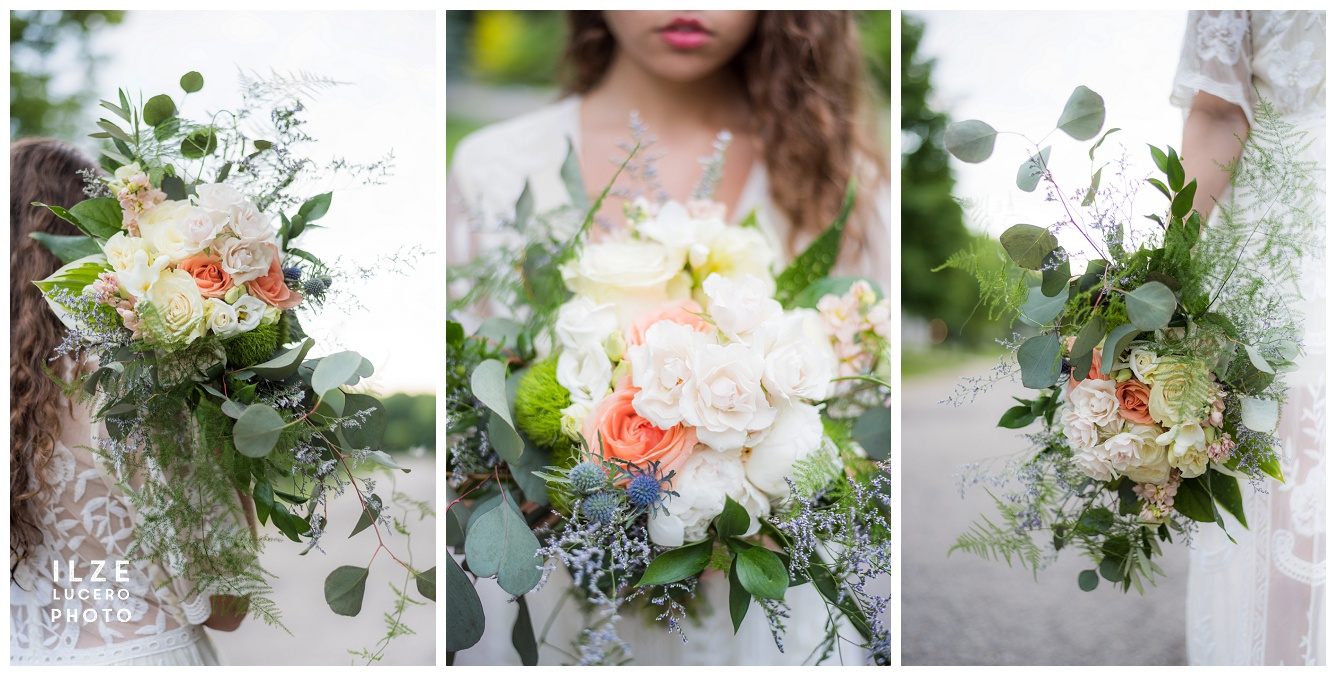 Boho Rose and Eucalyptus wedding bouquet