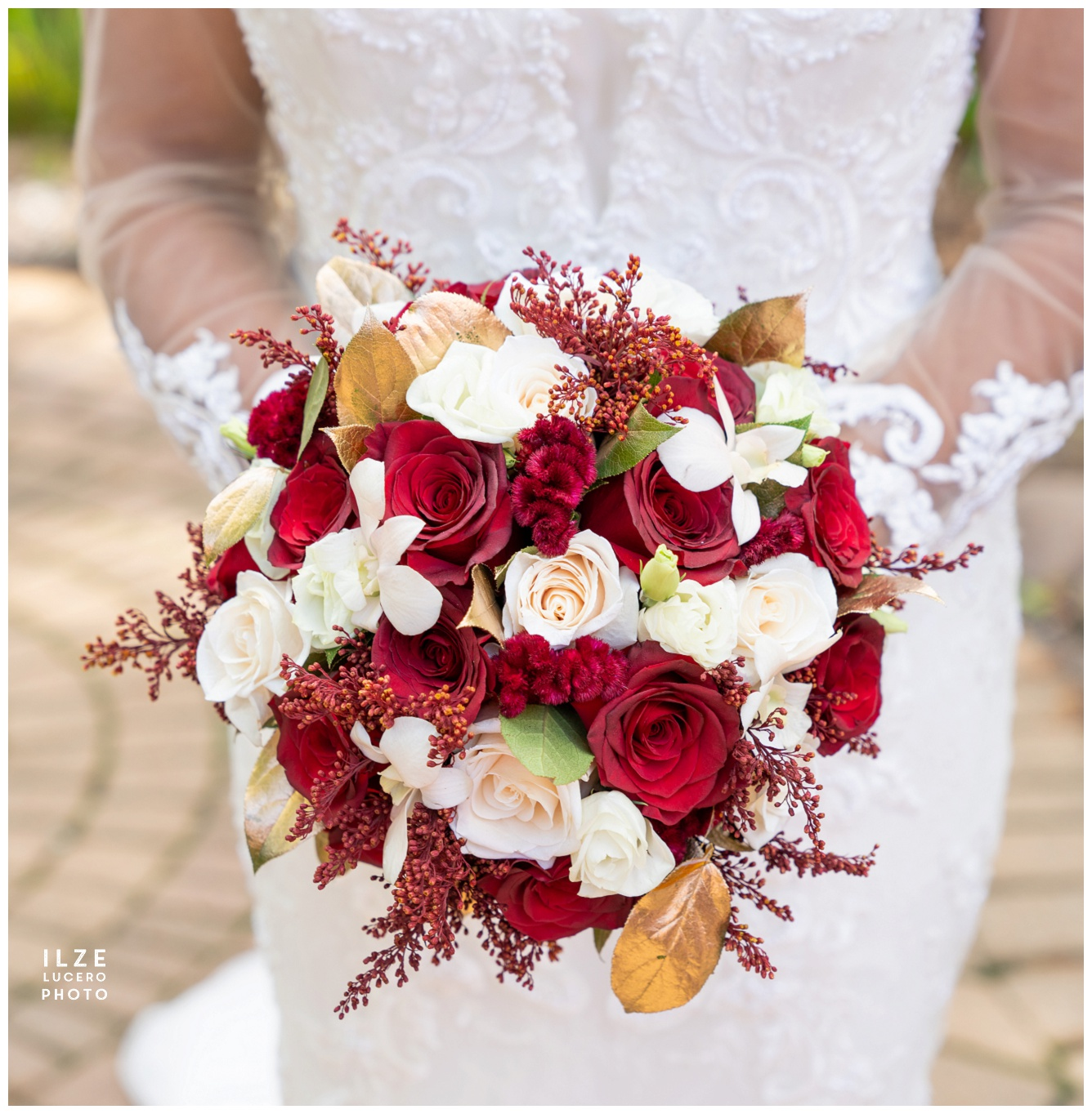 Classic rose wedding bouquet -  red, white and gold