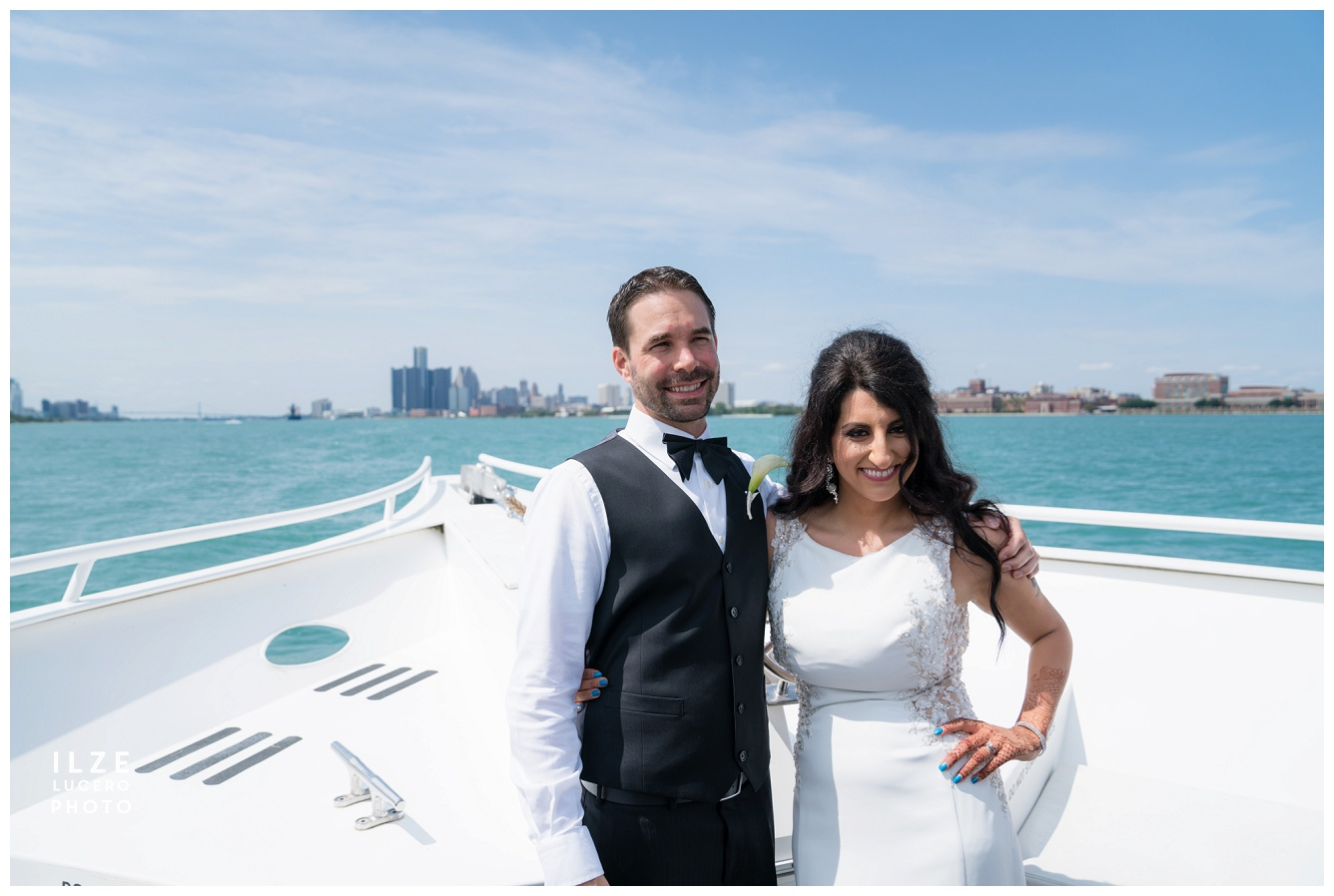Bride and groom on ovation Yacht Detroit