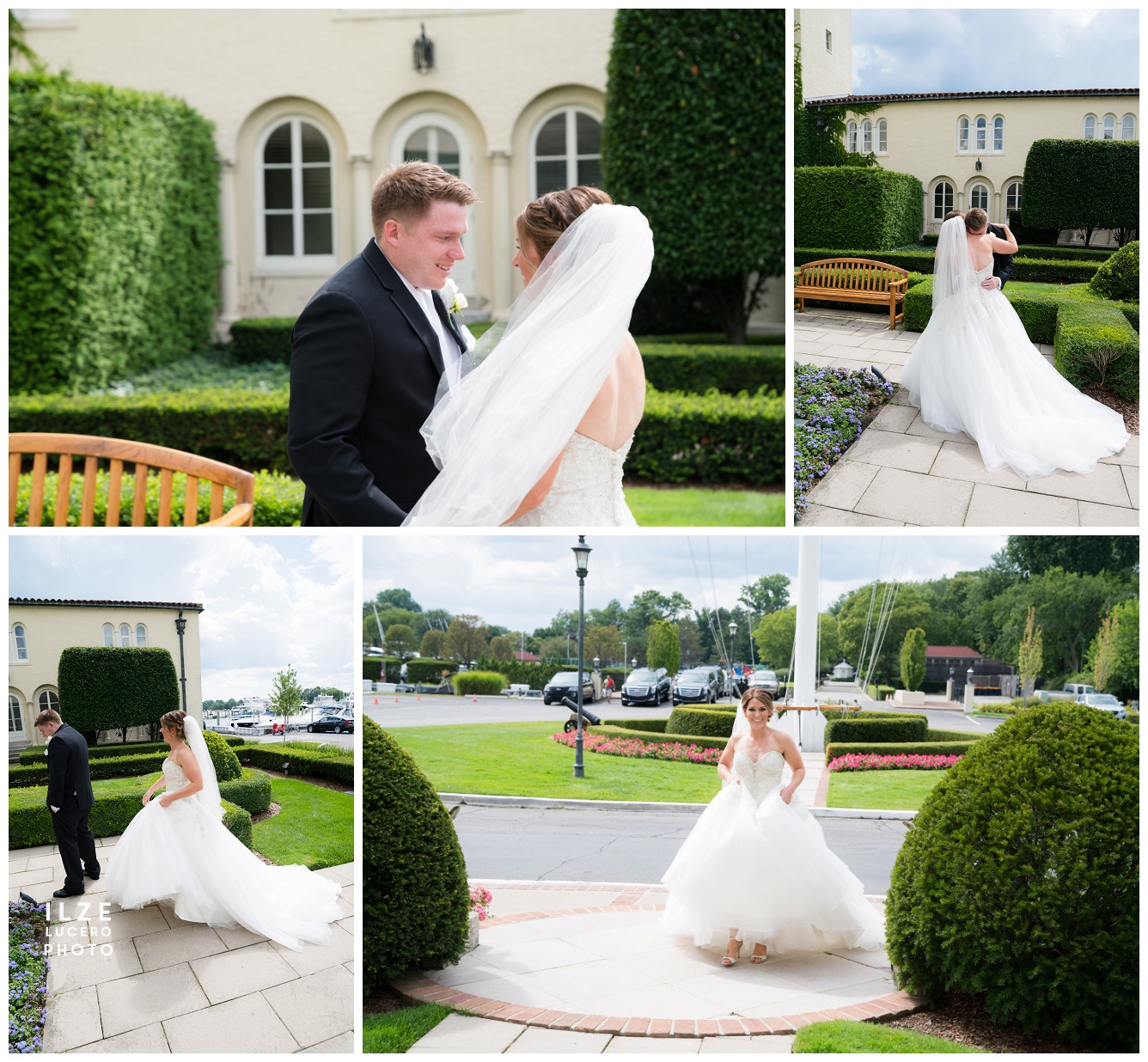 First Look -grosse pointe yacht club wedding