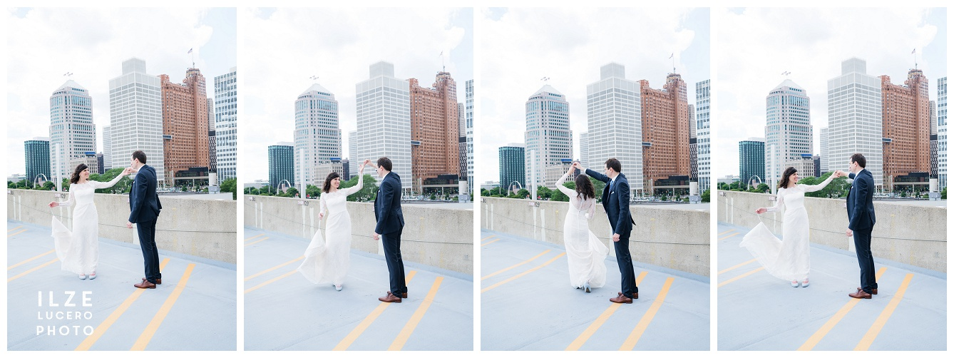 Detroit bride twirling on the roof