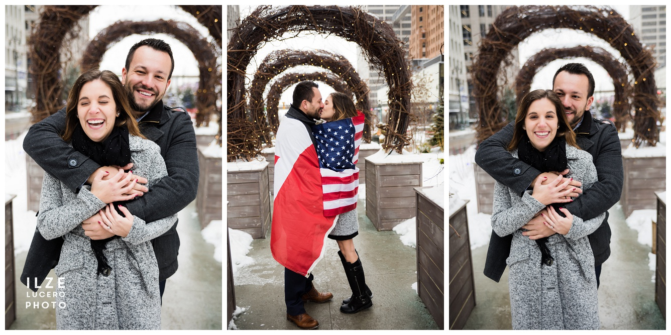 American Canadian Couple Engagement photo Shoot with Flags