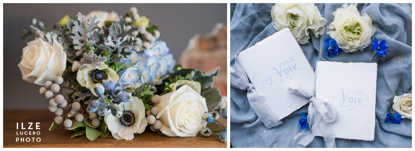 Anemones and Garden roses for Blue Boho Wedding