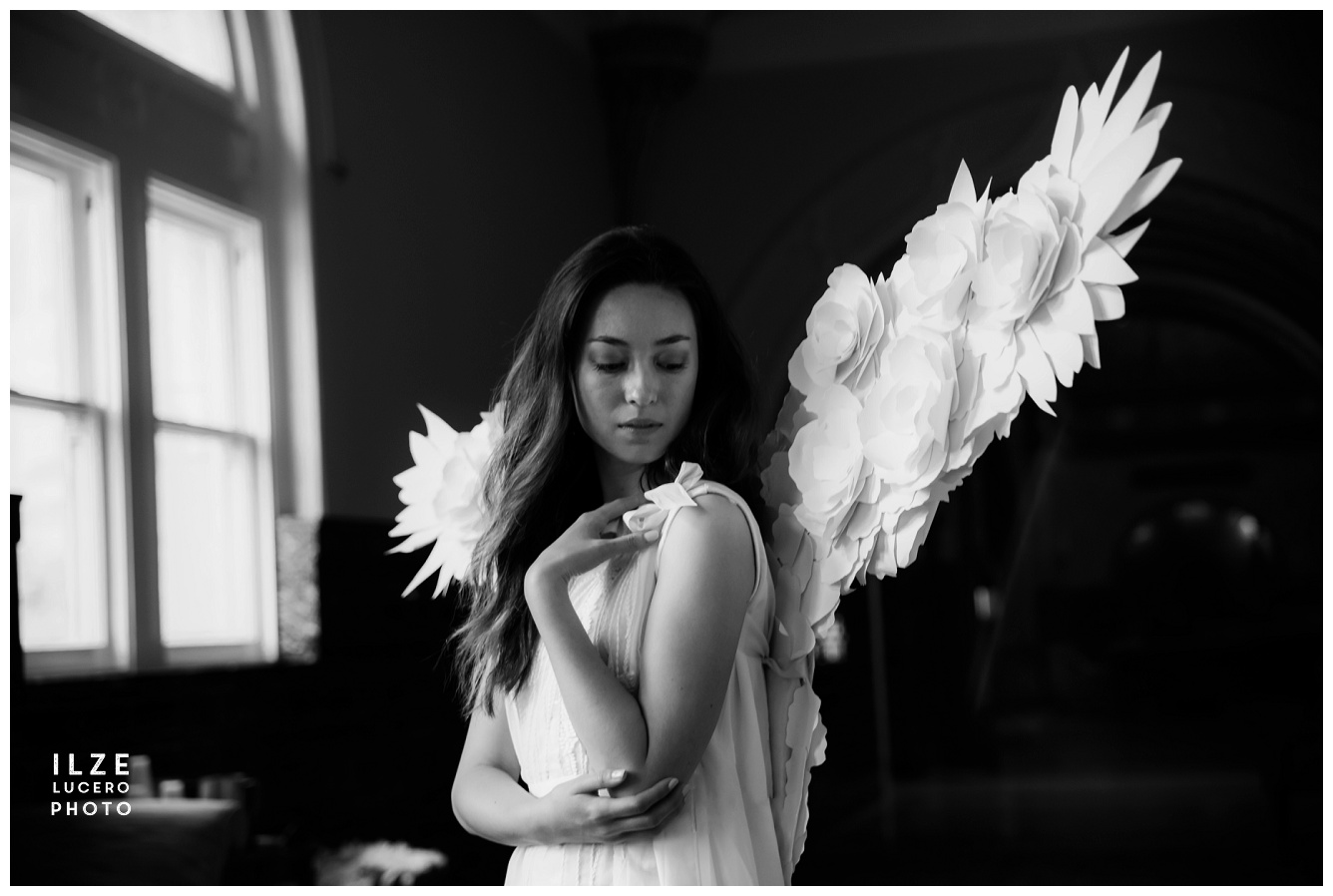 Angel wings cosplay built from paper flowers