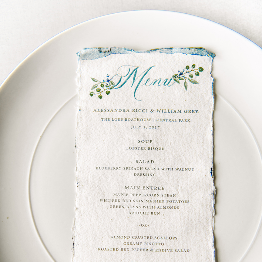 Luxury Wedding Invitation Menu