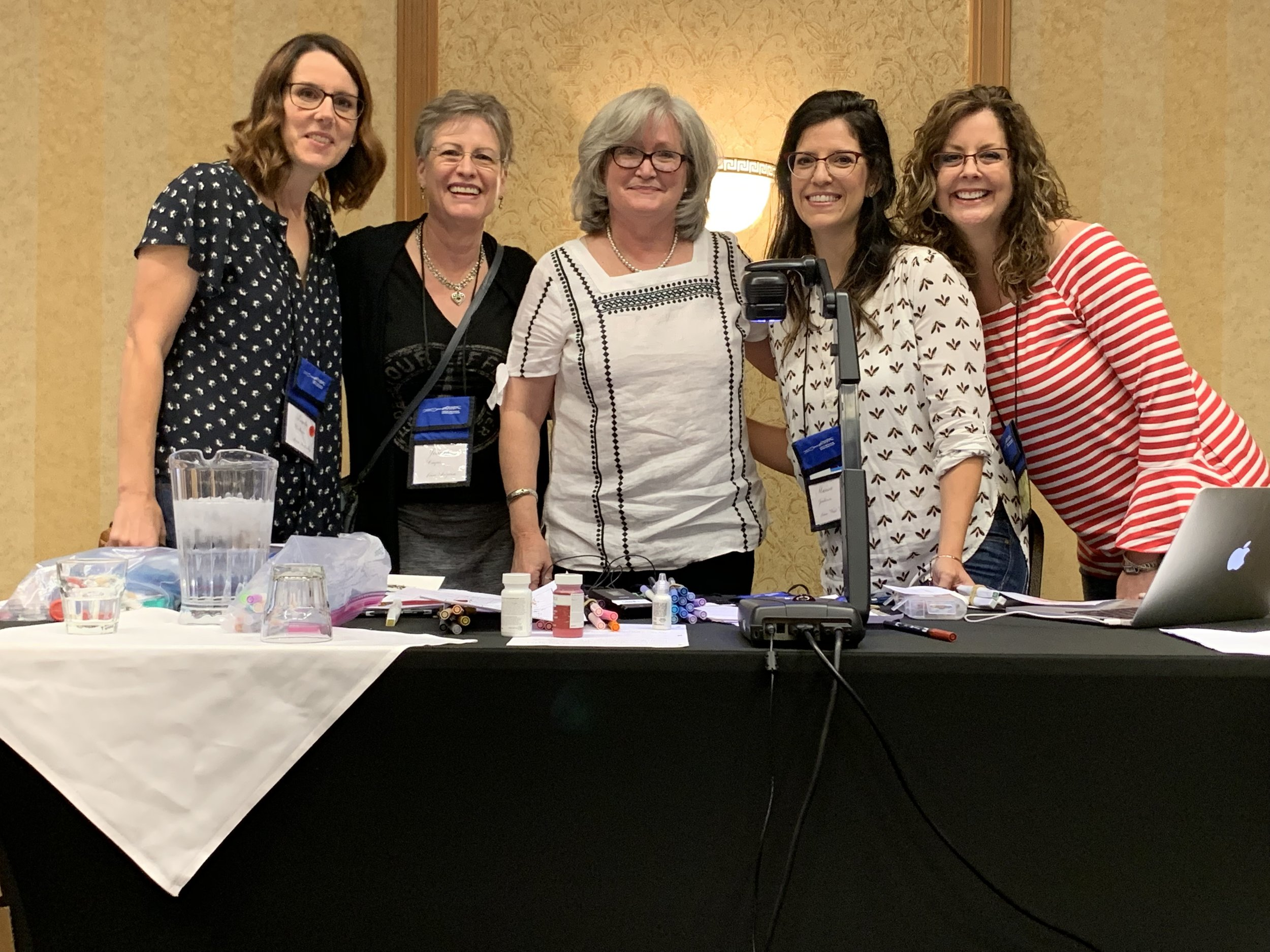 The incredible Angela Welch teaching wedding certificate design! Pictured Angie, JoDean, Angela, Marisa, and Melissa 2019