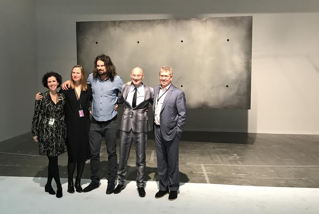 Representatives from Pace Gallery pose with Studio Drift's Ralph Nauta and Lonneke Gordijn, Armory Show director Benjamin Genocchio, and Platform curator Eric Shiner. Photo by the  Beckett Mufson , VICE