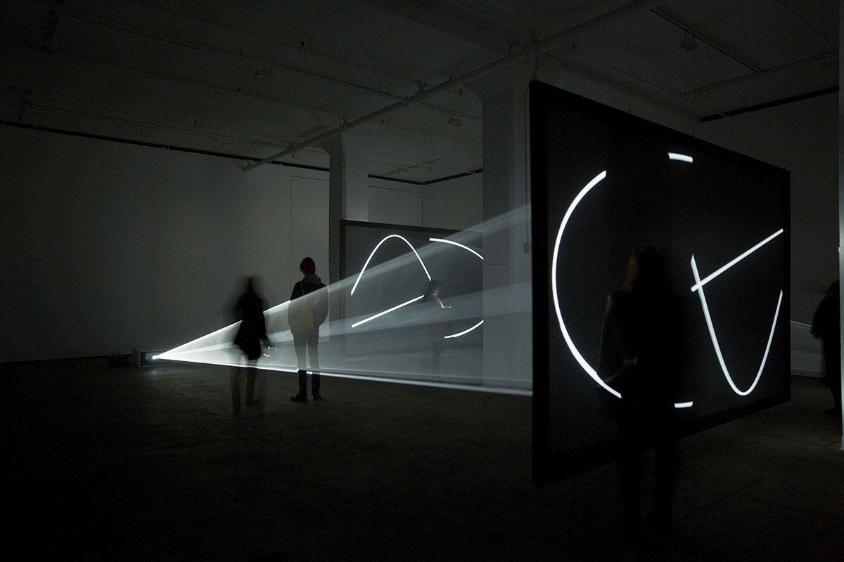 """Anthony McCall. """"Face to Face"""" (2013).  Installation view at Sean Kelly Gallery, New York, 2013.  Photograph by Jason Wyche."""