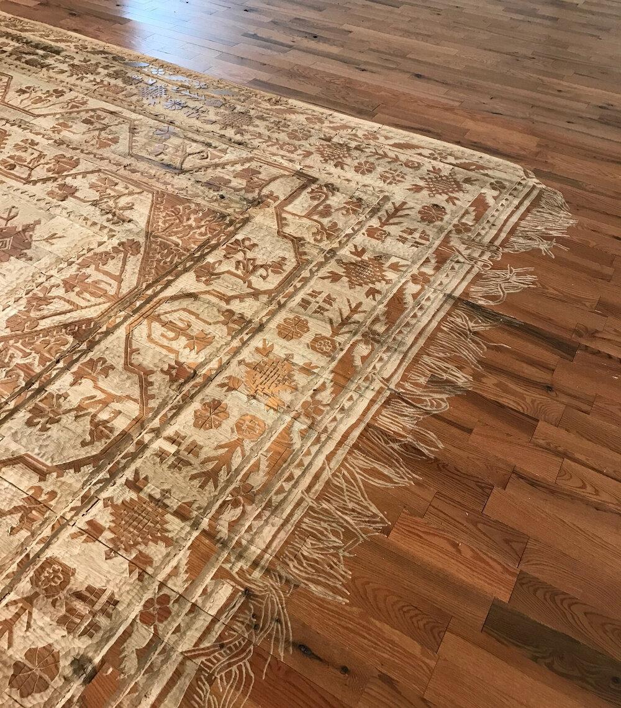 """Childhood Memories"" (2017), hand-carved rug into utility oak wood floor"