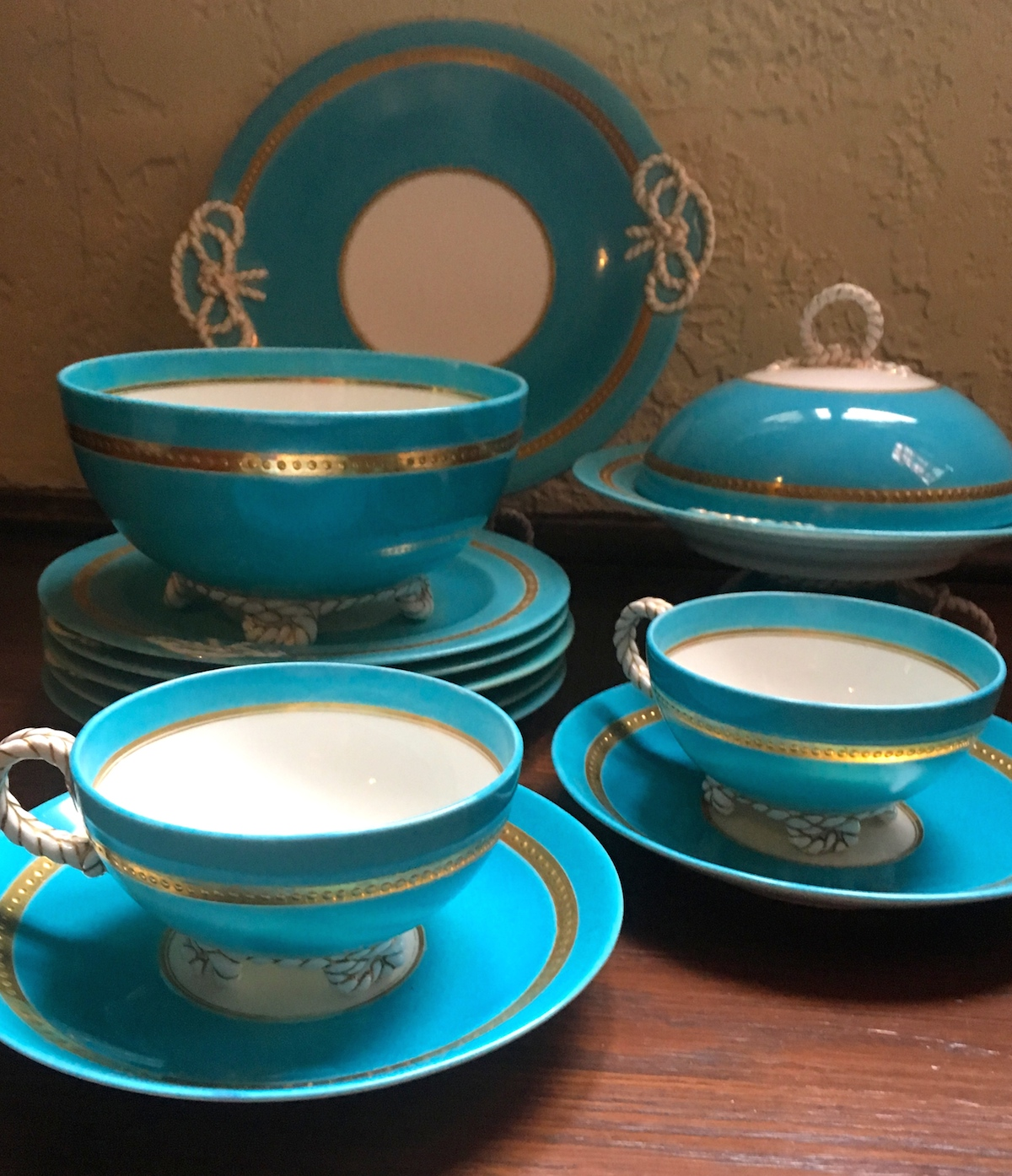 English Nautical themed lunch set - the blue hints that it might have been made by Minton