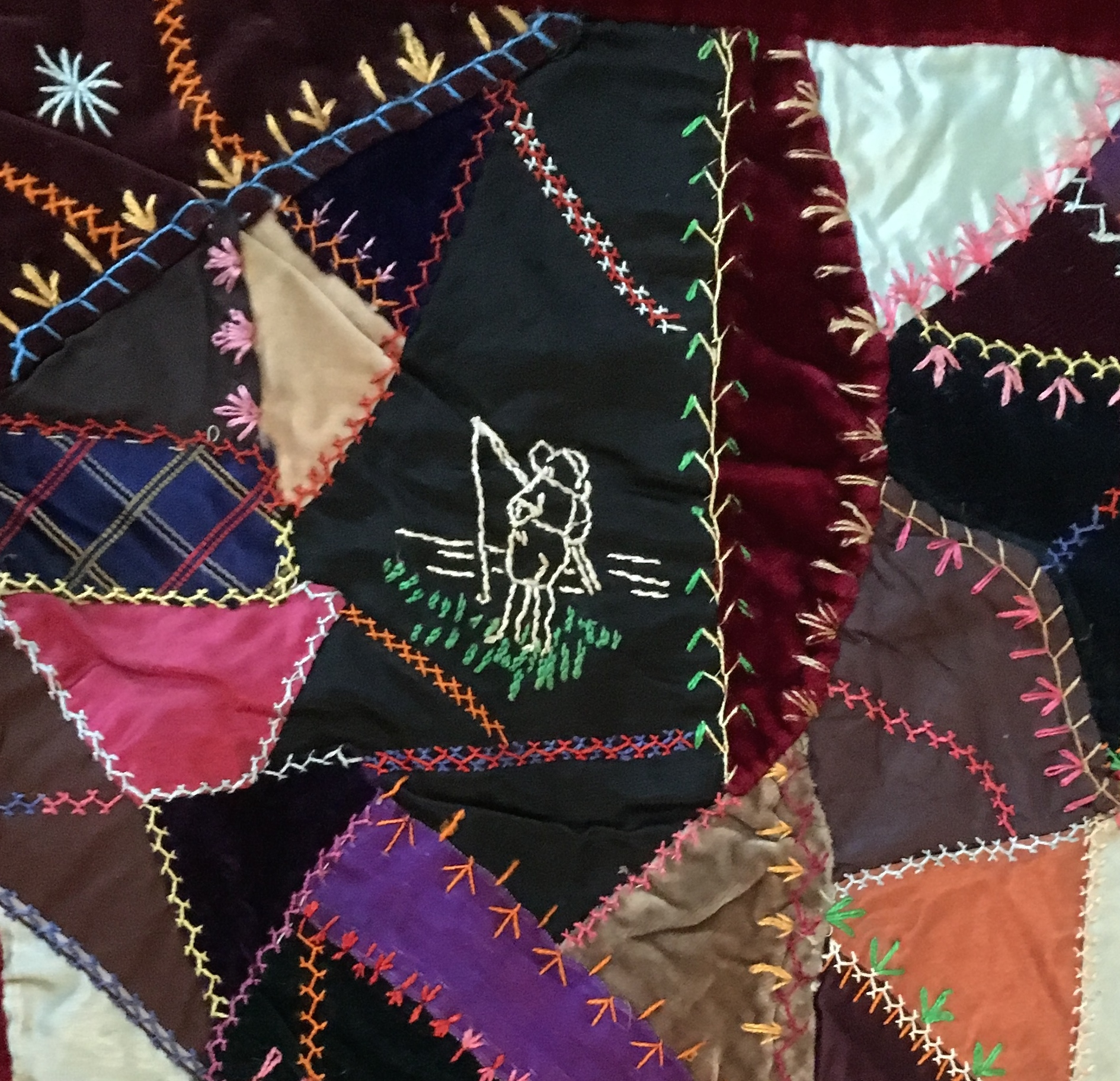 Crazy Quilts were usually made by women of leisure who had time to embellish and funds to afford luxurious fabrics