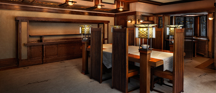 Frank Lloyd Wright designed the furniture and lighting for his Robie House in Chicago