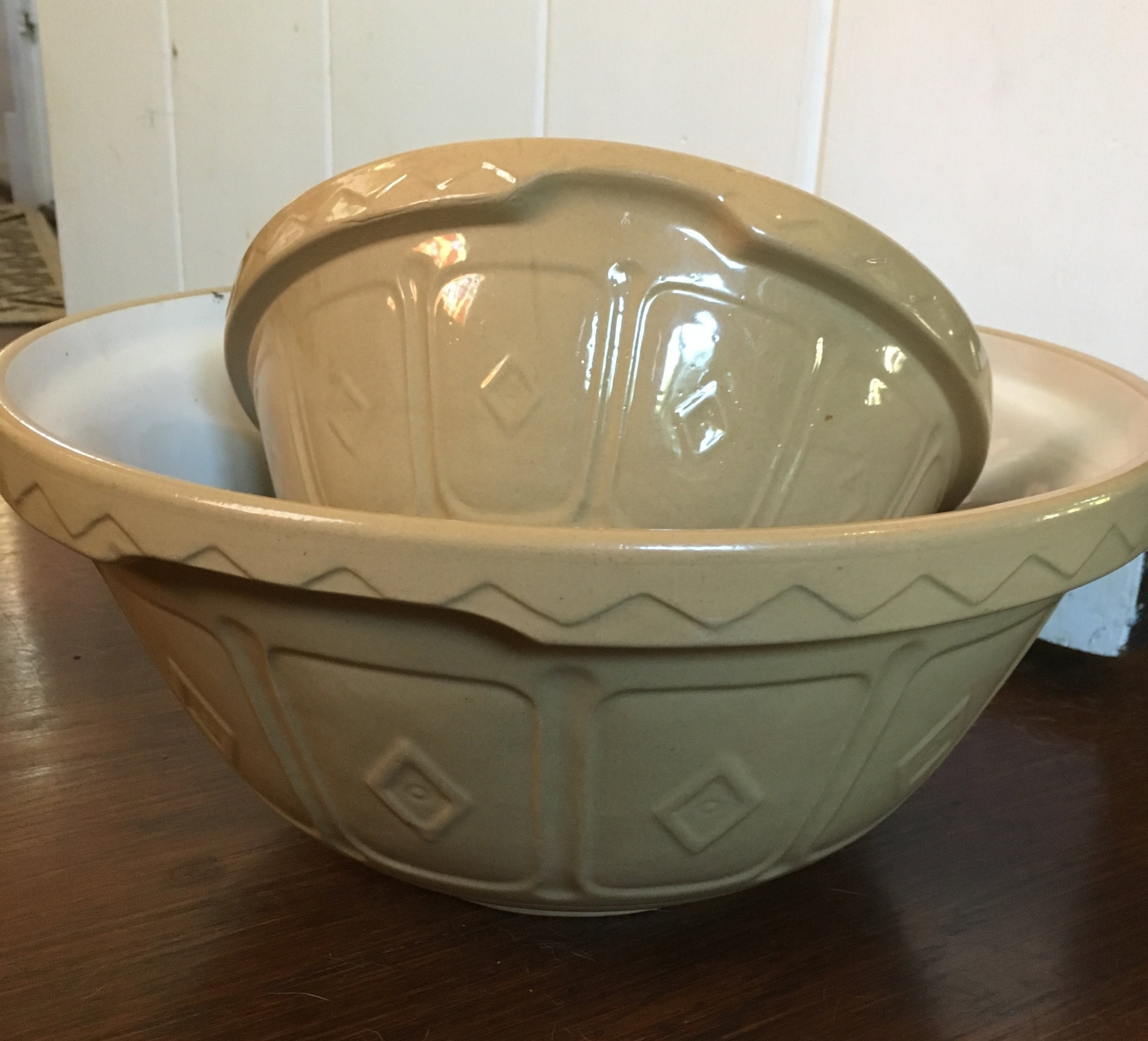 These Mason Cash bowls haven't changed  much since their introduction in 1901