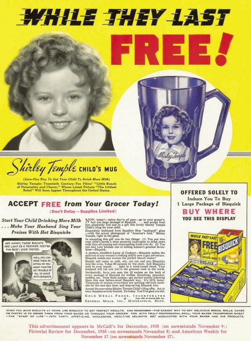 Shirley Temple's partnership with Bisquick urged kids to drink more milk