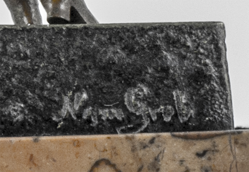 "Bergmann used the ""Nam Greb"" signature (Bergmann backwards) on sculptures considered erotic or risque"