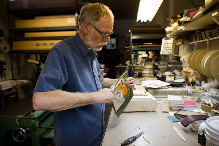Klaus Rotzcher, owner of Berkeley's Pettingell Book Bindery
