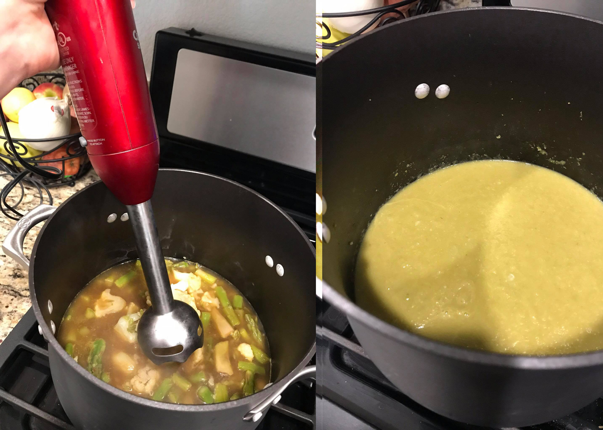 Step 3. - Carefully transfer the soup to a blender and blend on high speed until smooth, about 2 minutes. (Or use a handheld immersion blender to purée the soup directly in the pot.)
